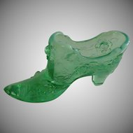 Fenton 1990 Roses Pattern Green Glass Slipper Shoe