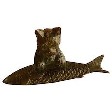 Brass Cat and Fish Cigar / Trinket / Glass Holder