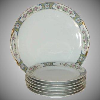 Vintage Hand Painted Nippon Dessert Plate Set