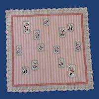 Pink  / White Stripes / Roses Handkerchief Hanky