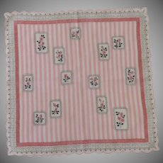 Pink  / White Stripes / Roses Handkerchief Hanky