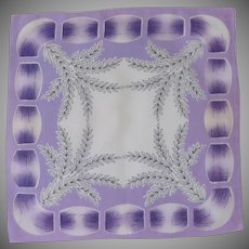 Purple / White Ribbon and Leaves Handkerchief Hankie