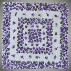 Scalloped Violet Daffodils on White Handkerchief Hanky