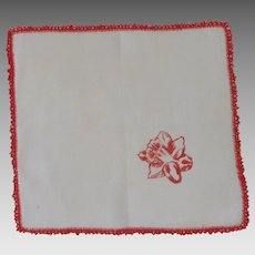 White Linen Handkerchief with Red Crocheted Edge