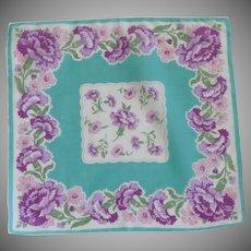 Aqua with Purple Zinnia Flowers Handkerchief Hanky