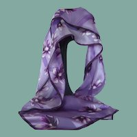 Designer Elaine Gold Purple Lilac Flower Silk Scarf