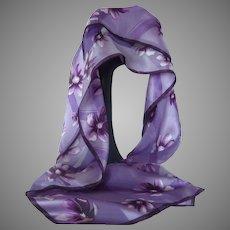 Designer Elaine Gold Purple Lilac Flower Silk Scarf
