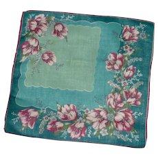 Aqua  Blue Poppy Flowered Handkerchief