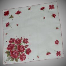 Beautiful Red Roses and Hearts on White Handkerchief
