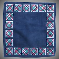 Navy with Red Green and Yellow Square Border Handkerchief -