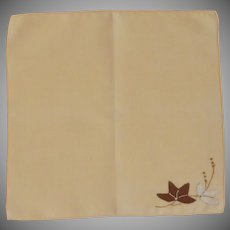 Yellow Linen Handkerchief Hankie with Applique Flowers