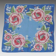 Blue with Red Pink Wild Roses Handkerchief Hankie