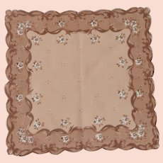 Brown Tan and White Pretty Handkerchief Hanky