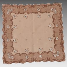 Brown Tan and White Pretty Handkerchief Hanky