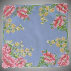 Blue with Red Pink Wild Roses and Yellow Flowers Handkerchief Hankie