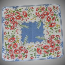 Bouquets of Red Daisies  on White Blue Background Handkerchief Hankie