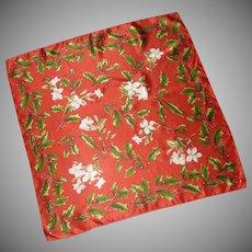 Echo Red Christmas Holly Silk Scarf