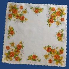 Orange, White and Gold Pansy Handkerchief