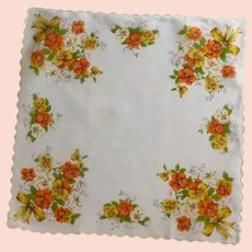 Orange, White and Gold Pansy Handkerchief