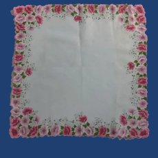 White Handkerchief with Pink Floral Border