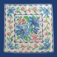 Blue and White Floral Handkerchief Hankie