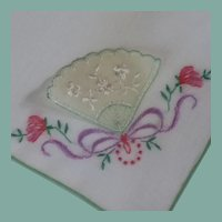 Hand Fan with Embroidery White Handkerchief Hanky
