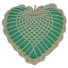 Vintage Crochet Green Pin Cushion