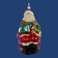 Mercury Glass Santa Hand Painted Ornament