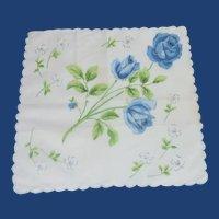 White Hanky Bold  Blue Roses Handkerchief