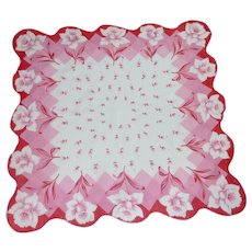 Large Red Pink Daffodils Handkerchief