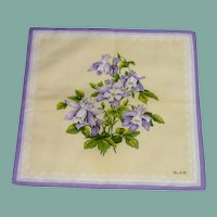 Beautiful Purple Yellow Flowered Signed Handkerchief