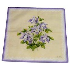 Beautiful Purple Yellow Flowered Signed Handkerchief