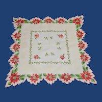 Christmas Poinsettia Scalloped Handkerchief
