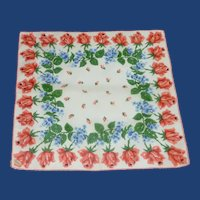 Red Roses and Blue Bachelor Buttons Handkerchief