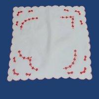 Satin Stitch Red Hearts on White Handkerchief Valentines