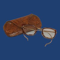 Brown Faux Tortoise Glass Frames and Tooled Case