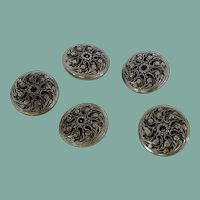 Five Silver Tone Metal Flowered Filigree Buttons