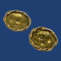 Two Gold Tone Edged Rumple Looking Buttons