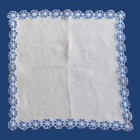 White Linen Hanky Blue Organza Flower Edging Handkerchief