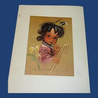 Vintage Indian Children Print by Monteague