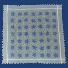 Blue with White Daises Handkerchief Hanky