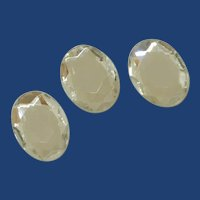 Three Beveled Diamond Rhinestone Oval Plastic Button Covers