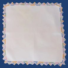 Exquisite Multi Colored Tatted Edge on White Handkerchief