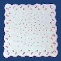 Pink & Purple Posey Flowers on White Handkerchief