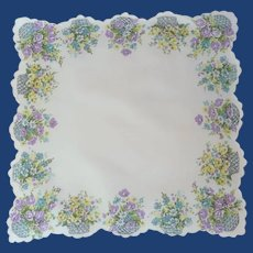 Bouquets of Flowers on White Handkerchief