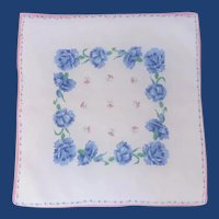 Blue Carnations on White Handkerchief Hanky