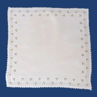 White Linen Handkerchief with Tiny Roses Handkerchief