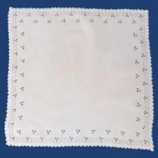 White Linen Handkerchief with Tiny Roses Handkerchief