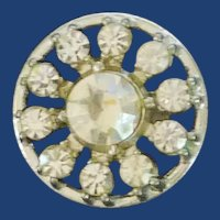 Silver Tone Diamond Rhinestone Spoke Button