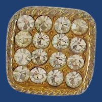 Square Gold Tone Diamond Rhinestone Button
